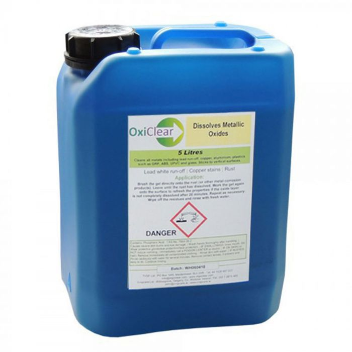 OXICLEAR -REMOVES IRON, COPPER & LEAD METAL OXIDATION STAINS FROM WALLS, ROOFS & WOOD